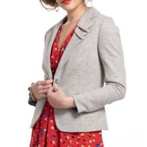 Elevenses gray wool pleated v-neck blazer jacket